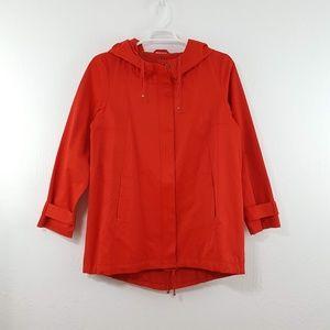 {Eileen Fisher} Red Hooded Zip Up Jacket Raincoat